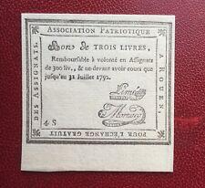 France - Superbe  Bon de 3 Livres - Association Patriotique -  Rouen 1792