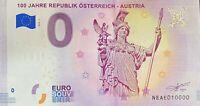 BILLET 0  EURO 100 JAHRE REPUBLIK OSTERREICH AUSTRIA 2018  NUMERO 10000 DERNIER
