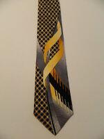 VITALIANO PANCALDI Silk Necktie ITALY Luxury CHECKS Geometric Black/Yellow EUC
