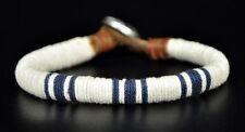 Classic Surfer Cotton Wrap Leather Men's Leather Wristband Bracelet Cuff White B