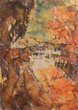 Vintage European expressionism oil painting landscape cityscape  signed
