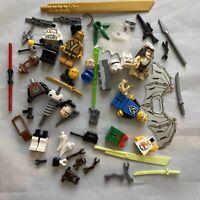 Lego Lot Minifigures Parts Pieces Headgear  Hats Hair Weapons City Star Wars