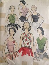 Vintage  Original 50s Sewing Pattern Ladies Top Blouse , Bust 32 , Advance Pinup