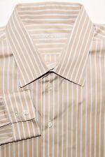 HOLLAND & SHERRY London Men's Button Front Dress Shirt Beige Striped Fit XL