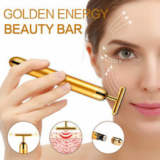 24K Gold Bar Facial Massager Pulse Roller Face Eye Skin Care Anti-aging Wrinkle