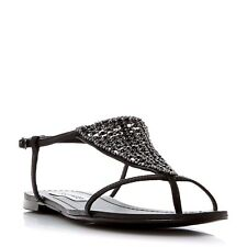 Steve Madden Chasity SM Womens UK 4 EU 37 Black Diamante Flat Sandals  Brand New
