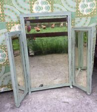 Antique Vintage Triple Dressing Table Mirror Sage Chalk Paint Rustic Shabby GC