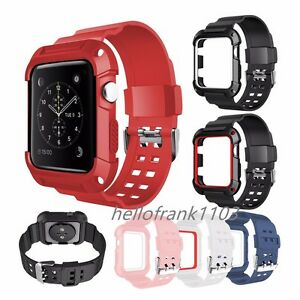 Sport TPU Wrist Strap Band with Rugged Protective Case For Apple Watch 38mm 42mm