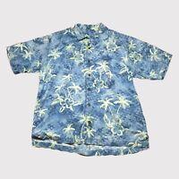 Tommy Bahama 100% Silk Blue & Green Floral Palm Tree Hawaiian Shirt Size Large