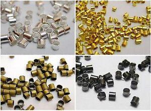 2500pcs Brass Tube Crimp End Beads 1.5mm Pick Your Colour
