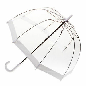 Clear Birdcage Umbrella with White Trim