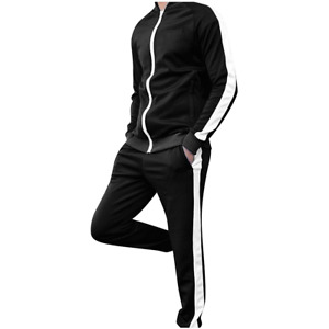 Men's Tracksuit Athletic 2 Piece Sports Casual Full Zip Sweatsuit Striped Pants