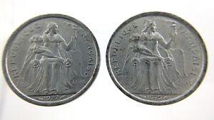 1977 1975 Two 1 Francs Republique Francaise Polynesia Circulated Coin N272