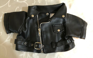 Build a Bear Black Faux Leather Motorcycle Jacket Moto Style Zips! Non-smoker