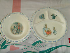 Beatrix Potter plastic baby toddler children's dish plate and bowl set GUC bunny