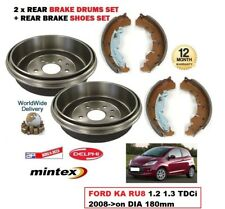 REAR BRAKE DRUMS + SHOES SET for FORD KA RU8 1.2 1.3 TDCi 2008->on DIA 180mm