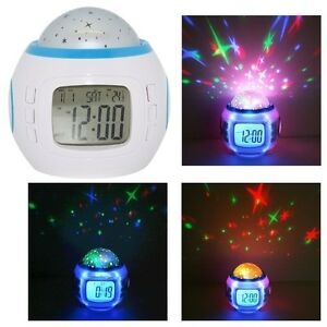Music LED Star Sky Projection Kids Digital Alarm Clock Calendar Thermometer