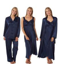 Ladies Navy Long Satin Lace Nightdress Chemise Nightshirt PJ Pyjamas Wrap Kimono