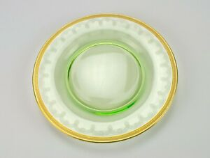 Cambridge Gold Encrusted Needle Etch Green Plate 3051, Signed Elegant Glass, 8""