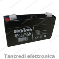 Batteria Ermetica Ricaricabile al Piombo 6V Volt 1,2 Ah 1,3 Ah connettore Faston