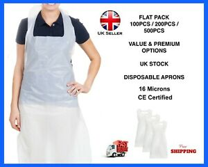 100 Disposable Plastic Aprons Polythene Aprons Eco Flat Pack White Waterproof UK