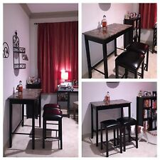 Breakfast Set Kitchen Home Bar Pub Furniture Console Table Padded Chairs Stools