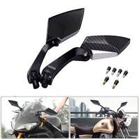 Black Pair Rear View Side Mirrors Universal Motorcycle For Honda Yamaha Suzuki