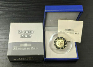 2 EURO BE COMMEMORATIVE FRANCE 2009 10 ANS DE L'EURO EMU FRANKREICH PP PROOF