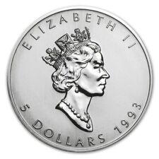 1993 Canadian $ 5 Dollars Maple Leaf 1 oz .9999 Silver Coin