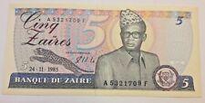 Zaire P26A, 5 Zaires, Mobutu, leopard / hydroelectric dam, Congo river,1985