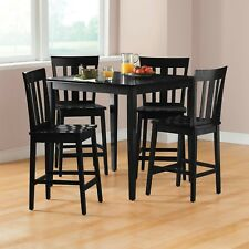 Modern 5 Pieces Counter Height Square Wooden Dining Room Kitchen Set Black