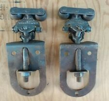2 PRIMITIVE ORIGINAL BARN DOOR ROLLERS MYERS ASHLAND OHIO... rare type rollers