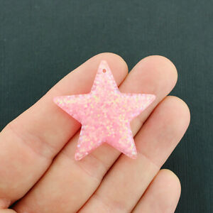 4 Star Charms Confetti Glitter Resin Baby Pink - K107