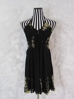 Tie Dye Black Halter Sleeveless Dress Size M