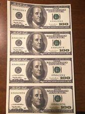 Copy 1996 $100 Uncut Reproduction Currency Money Sheet