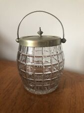 Vintage Edwardian Glass Biscuit Barrel EPNS Prop Decorative Storage