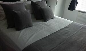 SILVER GREY PLAIN CHENILLE HOTEL BED RUNNERS & MATCHING CUSHIONS SOLD SEPERATELY