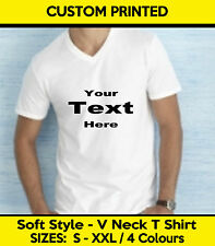 Custom Printed Personalised V Neck T-Shirt V neck Tee Shirt Stag Workwear
