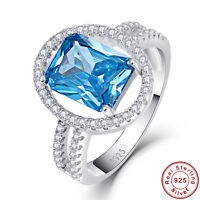 5.55CT Gemstone Swiss Blue Topaz 100% 925 Sterling Silver Ring Size L½ N½ P½ R½