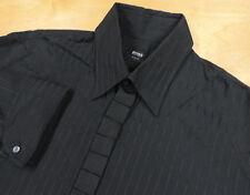 Rare HUGO BOSS Black w Textured Stripe & Pleated Grosgrain FC Slim Shirt L EUC