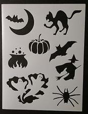 """Halloween Bat Cat Pumpkin Witch + 8.5"""" x 11"""" Custom Stencil FAST FREE SHIPPING"""