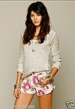 NEW Free People rusty rose & tan Double Weave Floral Cutoff Shorts 4