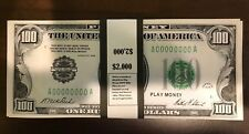 $2,000 In 1928 $100 Bills Play Money Prop USA 20 Pc Ben Franklin