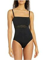 Seafolly Women's DD Cup One Piece Swimsuit with Zig Zag, Active Black, Size 10.0