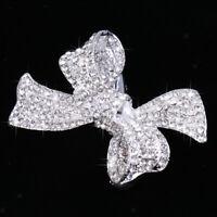 Rhinestone Crystal Bowknot Crocodile Hair Clip Barrette Wedding Jewelry