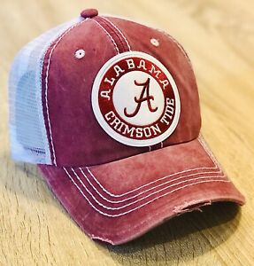 Alabama Crimson Tide Distressed Trucker Hat Embroidered Patch Roll Tide Football