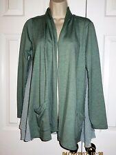 LOGO Lori Goldstein Lounge Soft Open Front Draped Pocket Sweater Cardigan Sz XS