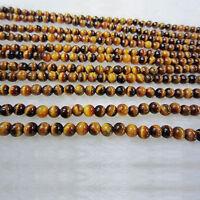 Lots Natural Gemstone Round Yellow Tiger Eye Loose Spacer Bead DIY 4/6/8/10/12mm