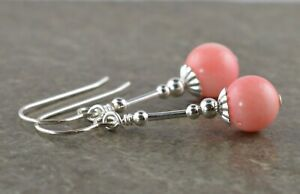 Pale Pink Natural Coral Gemstone & Sterling Silver Drop Earrings + Gift Box