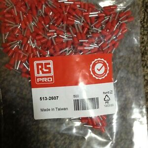500 x RS PRO Insulated Crimp Bootlace Ferrule, 8mm Pin, 1.7mm Dia, 1mm Wire,red